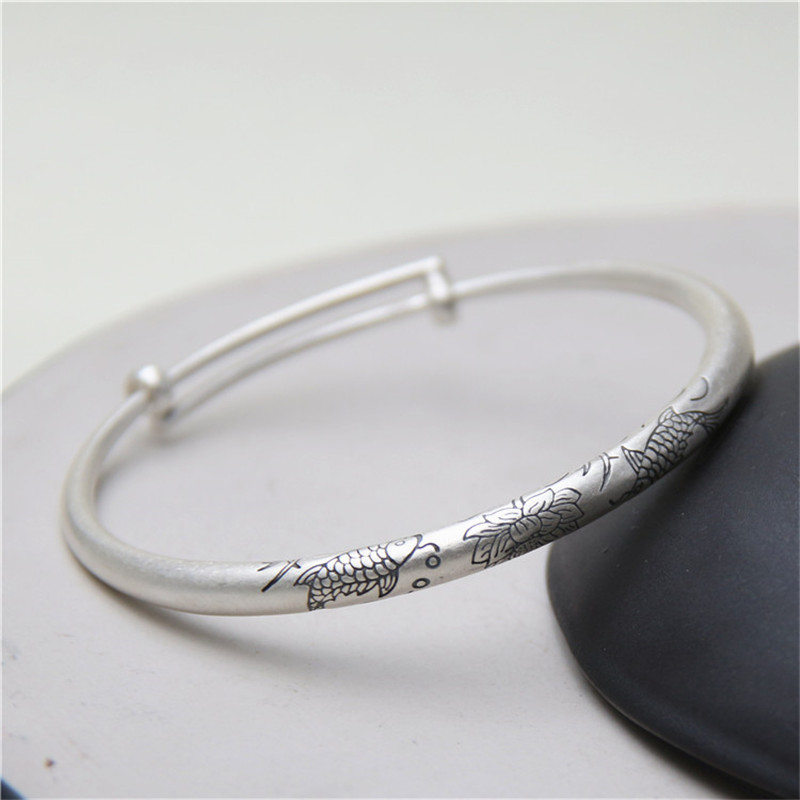 JINSE Lovely Gift Double Fish Lotus Carved Bangles S925 Sterling Silver Bracelet Bangle For Men Or Women Fine Jewelry Hot Sale