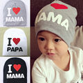 Fashion Kids Baby Infant Lovely Cute Soft Warm Hat Cap Cotton Beanie 2016 I Love Papa Mama Letter Print Boys Girls Hats