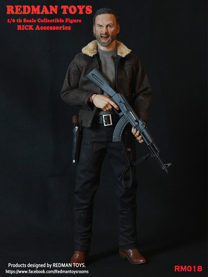 1/6 scale male figure Accessories The Walking Dead angry Sheriff RICK Head Sculpt with clothes sets for 12