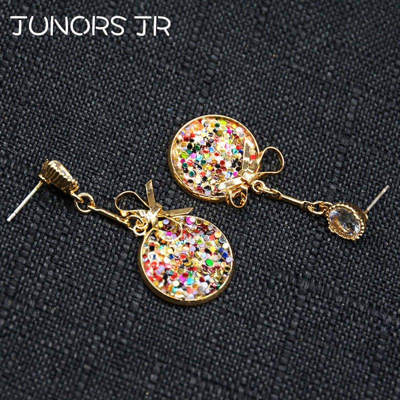 Buy Luxury Round Colors Sequin Gold Bowknot Crystal Hollow Dangle Earrings For Women S925 Silver Needle Healthy Drop Earrings Gift for only 2.39 USD