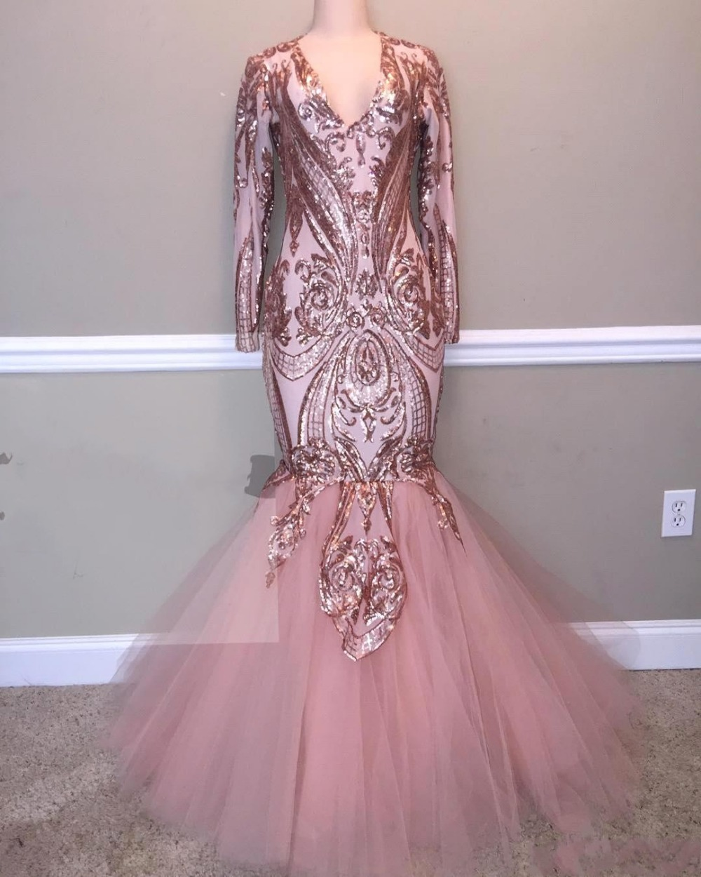 Sexy Glitter Pink Mermaid   Prom     Dresses   2019 Long Sleeve Sequins Lace Tulle Women Evening Party Gowns For Black Girls