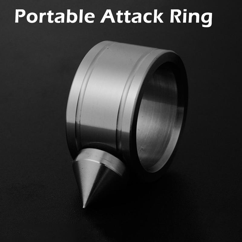 Anel de auto-defesa de aço inoxidável ao ar livre supplie auto-defesa produto armas anel ferramenta de sobrevivência bolso feminino proteger 2