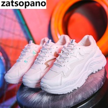 2019 Women Shoes Autumn White Shoes Sneakers Women Fashion Brand Retro Platform Shoes Ladies Footwear Breathable Mesh Sneakers цена и фото