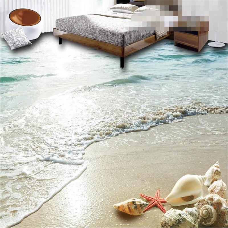 beibehang sticker 3D floor bathroom mural HD Ocean Beach Shell Starfish non-slip waterproof thickened self-adhesive PVC painting sticker encyclopedia ocean