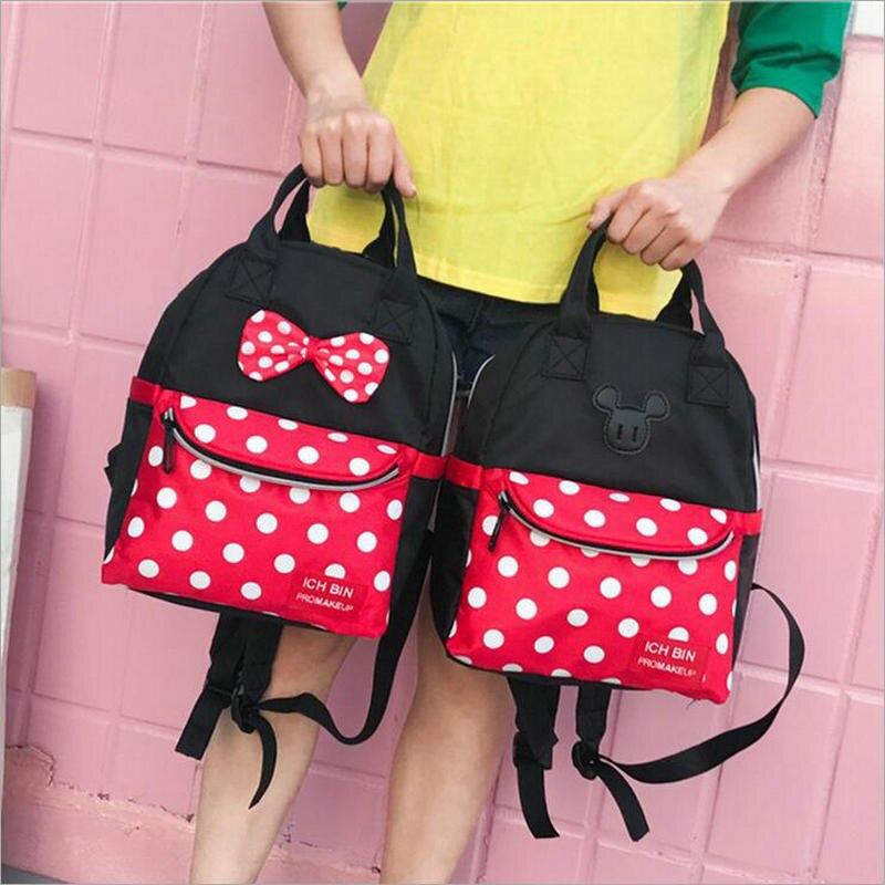 Новые женские сумки холст плечо рюкзак студент Повседневное сумки дети дорожные сумки Микки Feminina высокой емкости милые рюкзаки