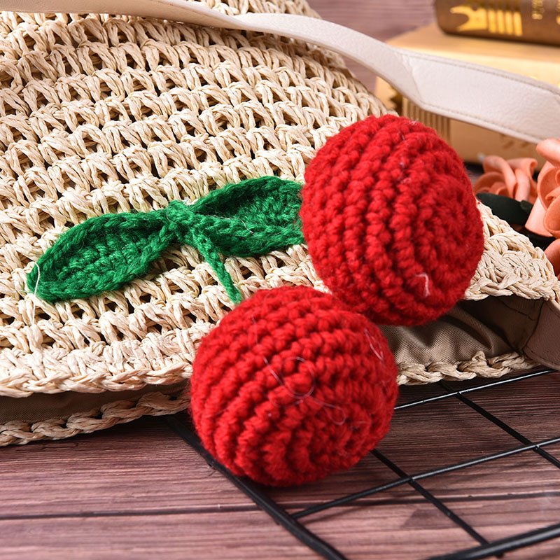 Women Cherry Pattern Beach Bag Barrel Shaped Korean Woven Straw Bag