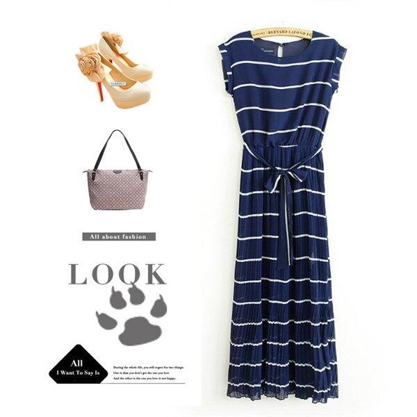 Buy Cheap Blue drape white stripe pleated maxi long dress above ankle Boho Bohemia tropical beach Floor-length chiffon dress