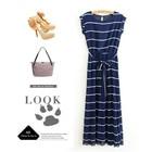 Save 2.6 on Blue drape white stripe pleated maxi long dress above ankle Boho Bohemia tropical beach Floor-length chiffon dress