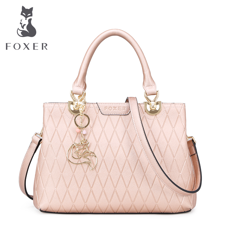 FOXER women luxury handbag fashion totes shoulder bags ladies leather handbag women messenger bag designer handbags Rose Gold 2017 women leather handbag of brands women messenger bags cross body ladies shoulder bag luxury handbags designer s 83