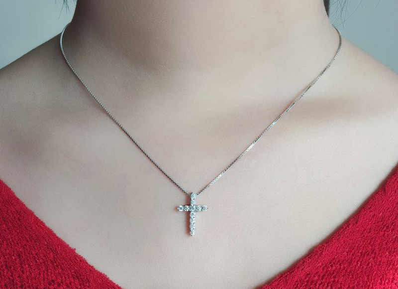 Yanhui роскошь 925 пробы серебряный крест кулон ожерелье принцесса огранка кубический цирконий ожерелье кулон для женщин и женщин DN10