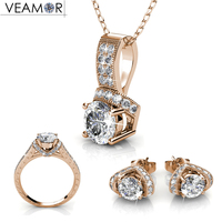 VEAMOR Necklace Ring Earrings Wedding Jewelry Set Bridal Jewelry Sets Rose Gold Color And Silver Color