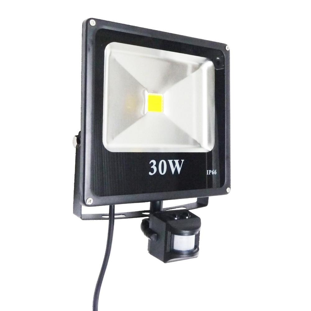 ФОТО 30W IR Sensor LED Flood Light IP65 Waterproof AC85-265V Input Black Color