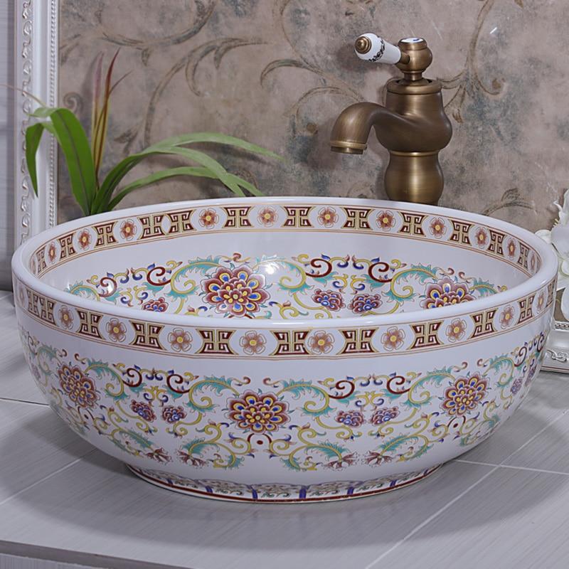 Retail Wholesale European Style Famille Rose Porcelain Western Bathroom  Sinks, Decorative Bathroom Sink