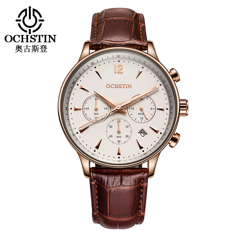 OCHSTIN brand mens watches genuine leather brown black white business man quartz wristwatches 30m waterproof casual male clocks 2018 spring male genuine leather eagle print 56 60cm black brown baseball caps for man casual street glof gorras dad hat ry119