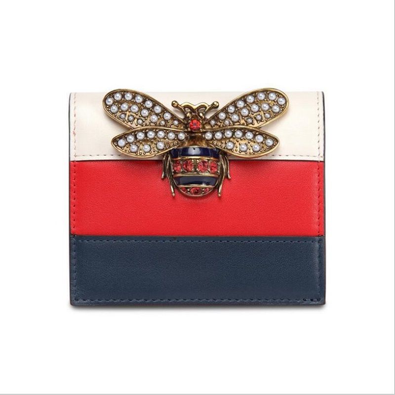 Women Designer Genuine Leather Wallet Famous Brands Bee Purse Ladies Long Leather Wallet Luxury Female Tri-color Bag
