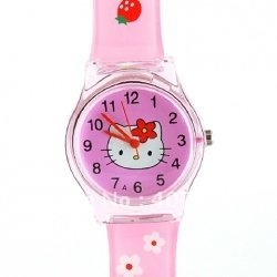 6018 Kitty Head Square Stainless Steel Back Kids' Electronic Watch (Pink)
