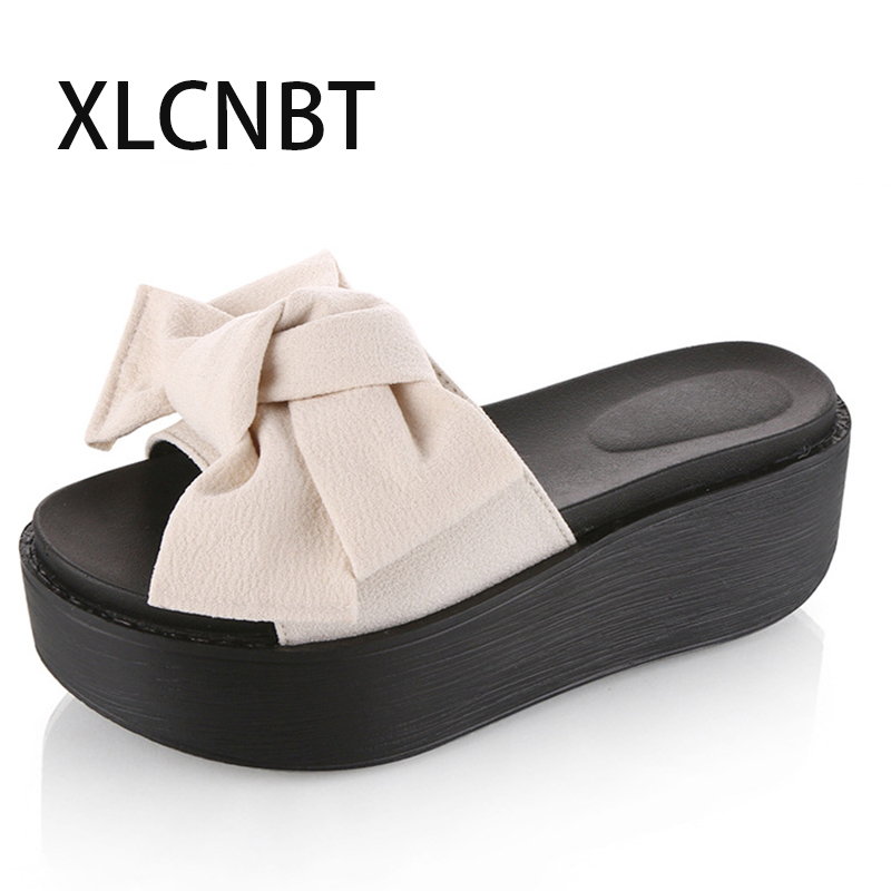 0c49a205282 hot fashion bowknot slipper paltform high heel slipper summer ladies slides  red green shoes lovely sexy sandal outside slides -in Slippers from Shoes  on ...