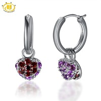 Hutang Natural Amethyst Garnet Heart Earrings Double Size Solid 925 Sterling Silver Gemstone Fine Jewelry Women