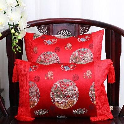 Классические Лоскутные цветочные шелковые наволочки для декоративных подушек подушечки высокого качества стул для дома офиса диванная подушка крышка - Цвет: red flower