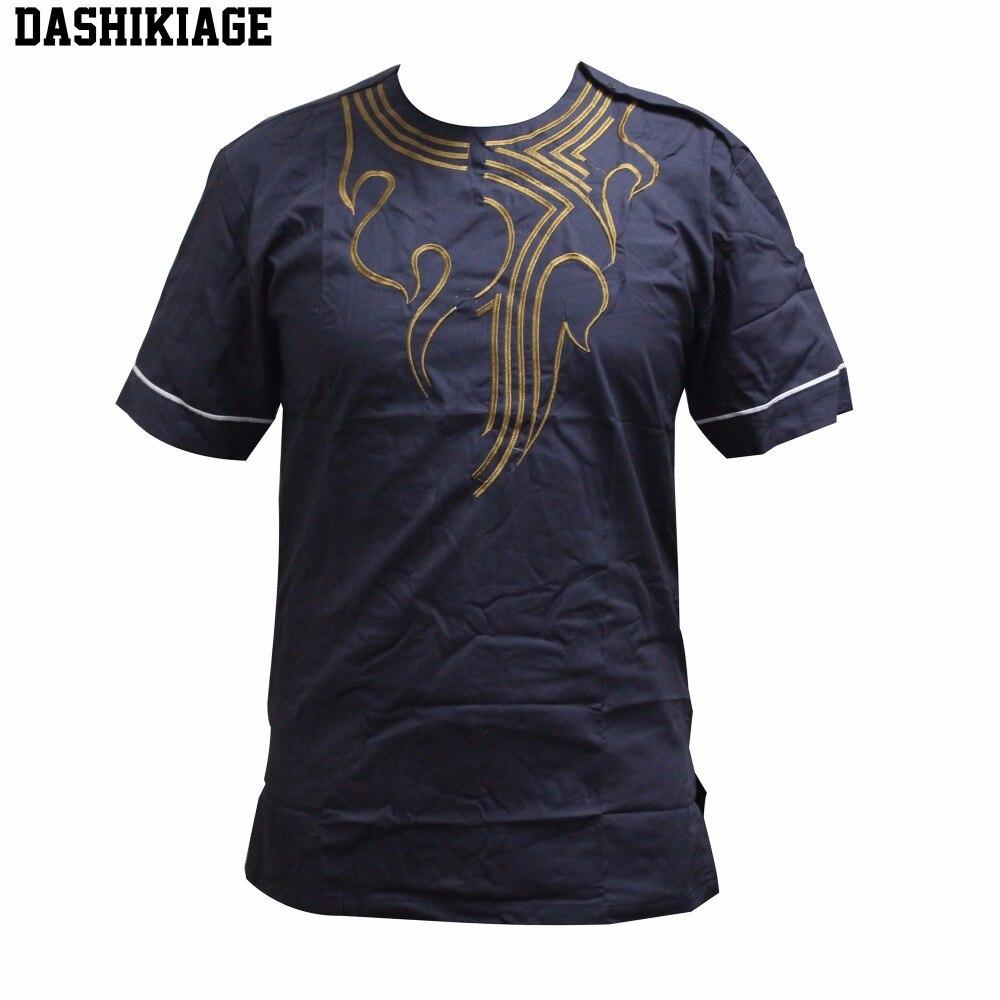 Dashikiage Pan-African Hippie Boho Dashiki Gold Embroidered Shirt Traditional Nigerian Native Ankara Party T-shirt