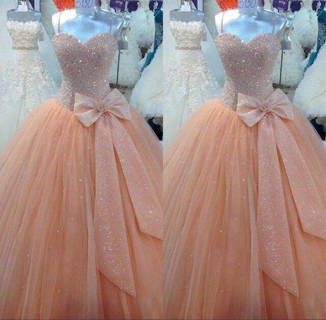 Imagem real Peach Quinceanera vestidos de 15 anos frisado tule vestido de baile longo partido Prom Dress vestidos faça personalizado MG06