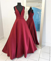 Simple Dark Red Satin Maid Of Honor Dress V Neck A Line Floor Length Long Elegant Bridesmaid Dresses 2019 Cheap Women Party Gown