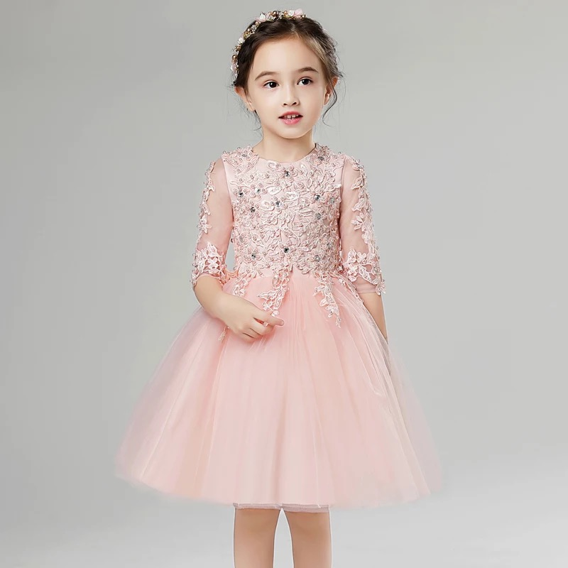 2017New Elegant Children Girls Sweet Cute Lace Dresses Solid Pink Grey Color O-Neck Ball Grow Party Princess Baby Kids Clothes grey lace details stripe round neck cami