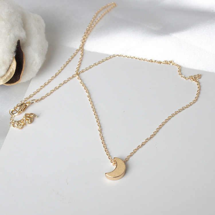 Thời trang Đơn Giản dày mặt trăng mặt dây chuyền vòng cổ Vàng và bạc kim loại hợp kim phụ nữ của vòng cổ Thuộc Về Xương Đòn Gánh chuỗi phụ kiện trang sức