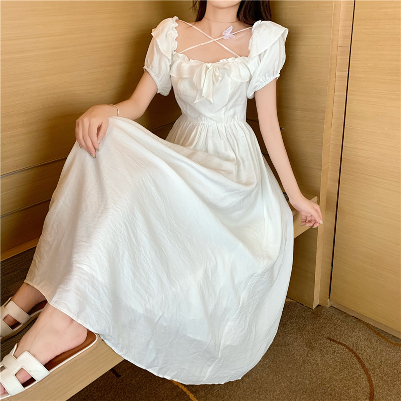 Women Summer Retro Fashion Slim Dress Sweet Puff Sleeve Midi White A Line Dress Sexy Square Collar Ruffled Fairy Dress Vestidos