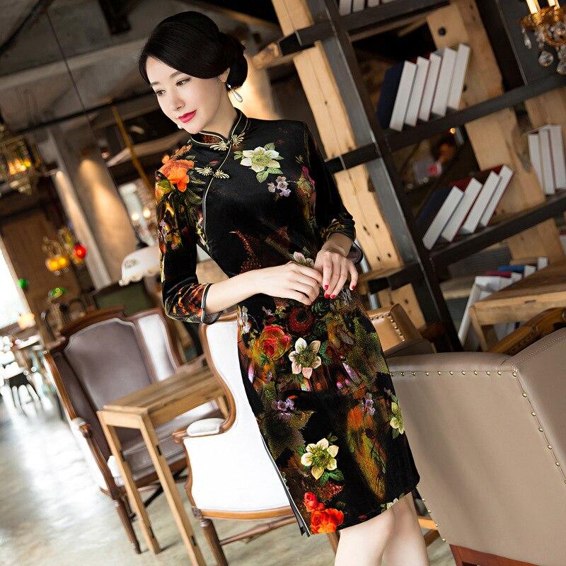 Новое поступление китайский Для женщин традиционный бархат Qipao Винтаж цветок Cheongsam пикантные короткое платье; женский элегантный тонкий пл...