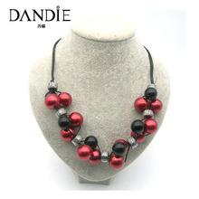 Dandie Fashion Red Black Acrylic  Beads Long Necklace, Fit For Any Season