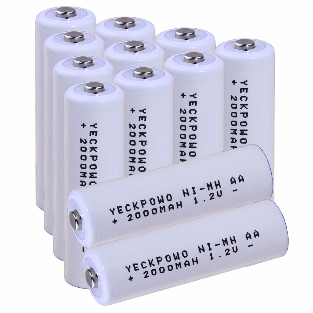 Real capacity! 12 pcs AA 1.2V NIMH AA rechargeable AA battery 2000mah for camera razor toy remote control flashlight