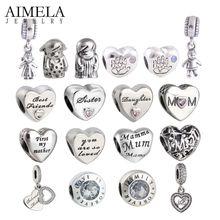 AIMELA Madre Del Corazón de Los Granos Para Hacer La Joyería 925-sterling-silver Mamá Encantos Fit Pandora Pulseras DIY del Regalo del Día de Madre