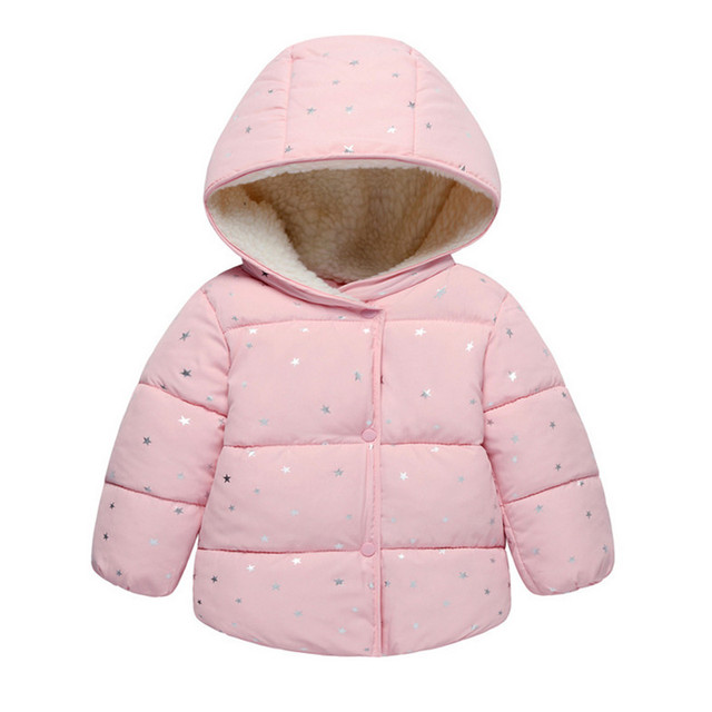 b1c33f1c5b4c Autumn Winter Baby Outerwear Infants Girls Hooded Printed Princess ...