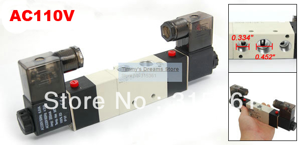 Free Shipping High Quality 1/4'' Ports 4V230C-08 3 Position 5 Way Air Solenoid Valve AC110V high quality ac 220v 50 60hz 4 way 3mpa heat pump reversing solenoid valve for air condition free shipping