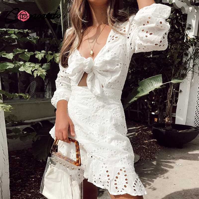 Conmoto White Embroidery Short Dress Women Sexy V Neck Hollow Out Cotton Winter Dress 2019 NEW Casual Holiday Lace up Vestidos