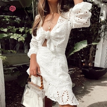 Conmoto White Embroidery Short Dress Women Sexy V Neck Hollow Out Cotton Dress 2019 NEW Casual Holiday Lace up Vestidos