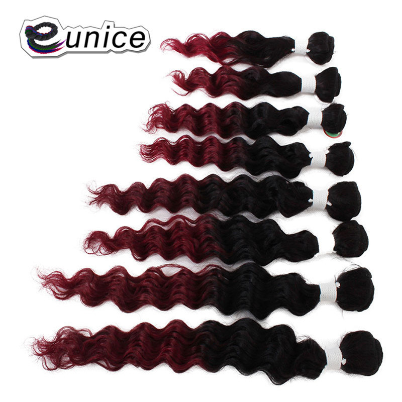 "Eunice Ombre Hair Extensions Kinky Curly Weave Synthetic Kanekalon Fiber Hair Bundles 8-14""INCH 8pcs/Lot Full Head Wearing"