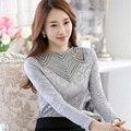 SpringWomen кружева топы Мода длинными рукавами Сплошной цвет рубашки женские Сексуальные выдалбливают кружева рубашки плюс размер женщин blusas