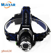 RU ZK40 3800LM Led Head Light Cree XM-L T6 Waterproof Headlight Zoomable Focus Rechargeable Headlamps Camping Bicycle Climbing