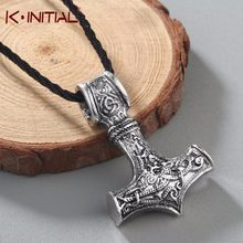 Collar Kinitial Retro Gran Lobo Thor martillo Mjolnir Viking amuleto martillo colgante escandinavo collares nórdicos joyería(China)