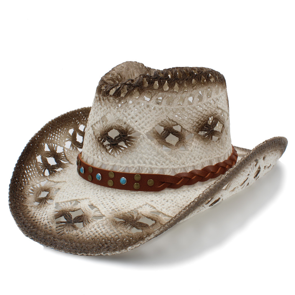 Men's Sun Hats Men's Hats 2019 Women Men Sun Sun Hat With Punk Band Handmade Weave Leather Beach Sun Sombrero Cowboy Hat Size 58cm A0128 Punctual Timing
