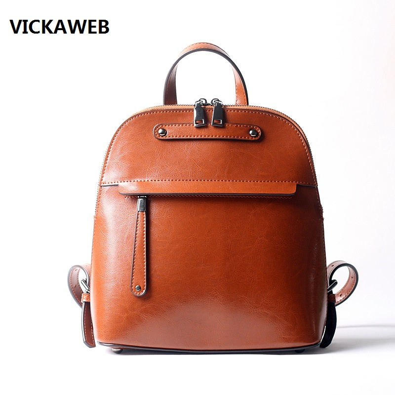 цена на new arrival backpack women genuine leather ladies travel bags vintage school bags for girls shoulder bag small leather bagpack