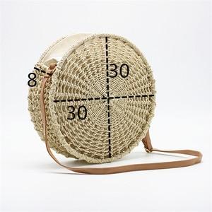 Image 4 - Sac de paille rond ajouré pour dames, sacoche tissée à la main, sacoche à bandoulière