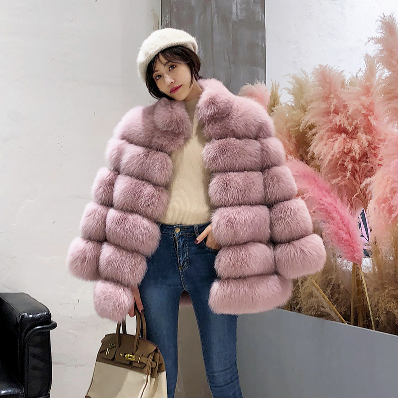 XS-4XL Artificial Fur Women 2018 Winter Fashion Pink Faux Fur Coat Elegant Thick Warm Outerwear Fake Fur Jacket Chaquetas Mujer