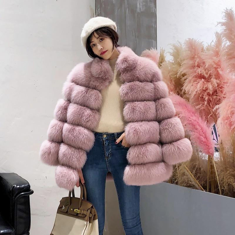 XS-4XL Artificial Fur Women 2018 Winter Fashion Pink Faux Fur Coat Elegant Thick Warm Outerwear Fake Fur Jacket Chaquetas Mujer