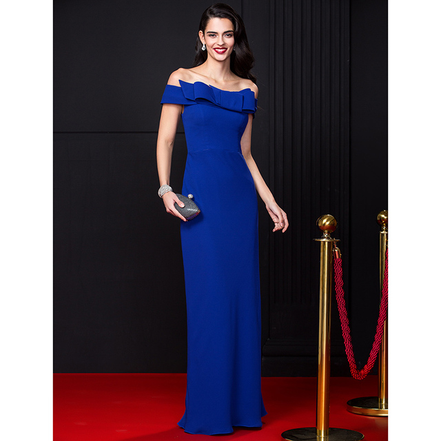 3959d518cf24 TS Couture Sheath / Column Off-the-shoulder Floor Length Chiffon Prom  Formal Evening Dress with Bow(s)