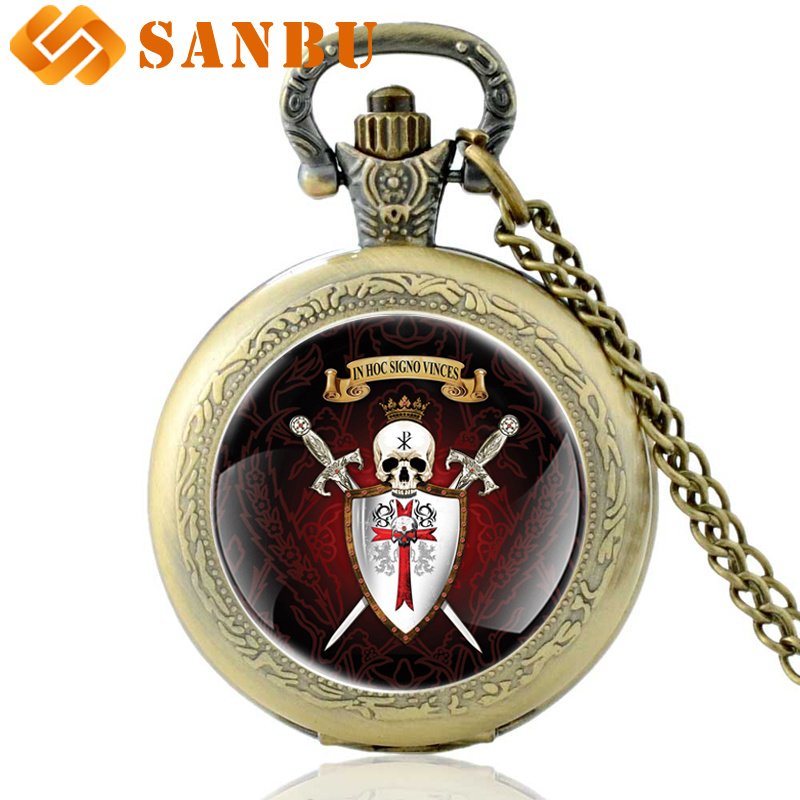 Bronze Knight Templar Skull Quartz Pocket Watch Vintage Men Cross Skeleton Necklace