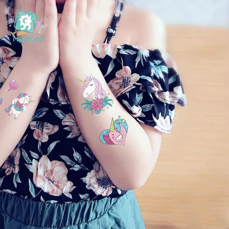 Rocooart маленькая татуировка для детей милые Мультяшные татуажи временная татуировка наклейка боди-арт татуаж Дети Единорог Тати вечерние подарок