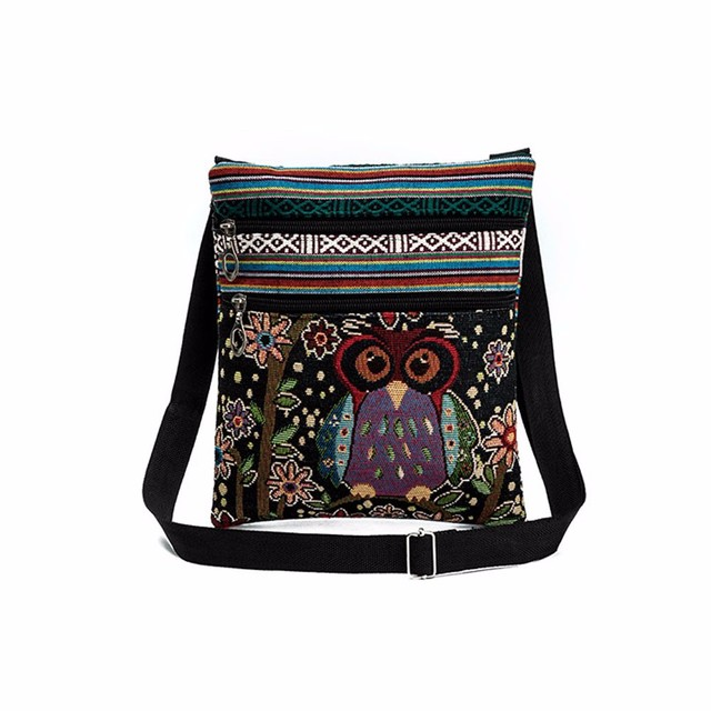 popular Embroidered Owl Tote Bags Women Shoulder Bag Handbags Postman Package gift wholesale A40